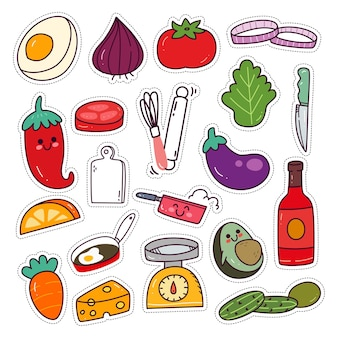 Kawaii cooking utensils and ingredients sticker set