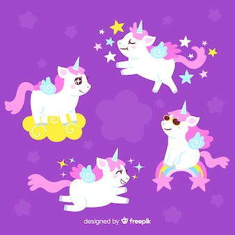 Kawaii cool unicorn character collection