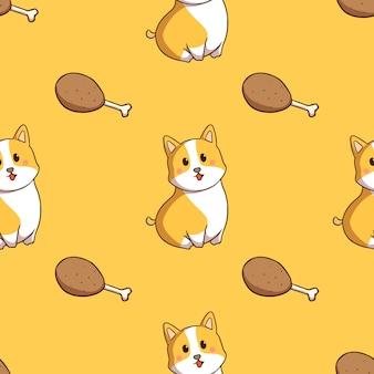Kawaii corgi dog with chicken drumstick in seamless pattern