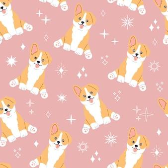 カワイイコーギー、笑顔のかわいい顔の小さなかわいい犬。魔法の星とピンクの背景にシームレスなパターン。フラット漫画スタイル、包装紙、テキスタイルで手描きのトレンディなモダンなイラスト