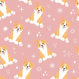 Kawaii corgi, little cute dog with smiling cute face. seamless pattern on pink background with magic stars. hand drawn trendy modern illustration in flat cartoon style, wrapping paper and textile