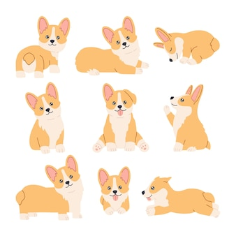 Kawaii corgi stickers set, happy little fun pets with smiling cute face, sitting, standing and lying in different poses. puppy collection. hand drawn trendy modern illustration in flat cartoon style