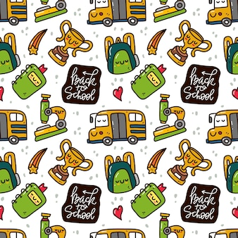 Kawaii cute back to school seamless pattern in doodle style.