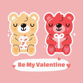 Kawaii cute bear holding gift with be my valentine text