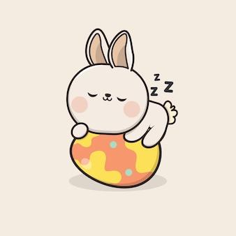 カワイイかわいいウサギのイースターエッグのイラスト Premiumベクター