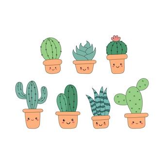 Kawaii cute cactus cartoon isolated