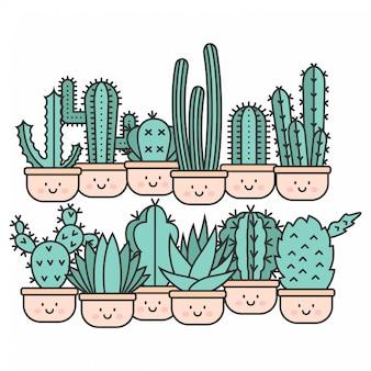 Kawaii cute cactus hand drawn