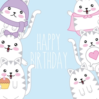 Kawaii cute cats happy birthday card template