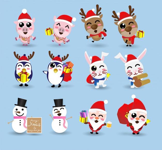 Kawaii cute christmas santa claus and friend