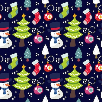 Kawaii cute christmas seamless pattern background. can use for fabric etc