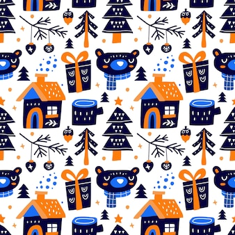 Каваи милые рождественские бесшовные модели в скандинавском стиле. можно использовать для ткани и т. д.