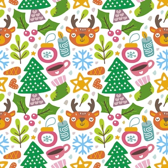 スカンジナビアスタイルのカワイイかわいいクリスマスシームレスパターン。