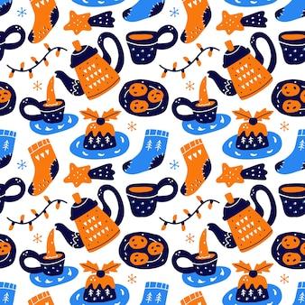 스칸디나비아 스타일의 kawaii 귀여운 크리스마스 완벽 한 패턴입니다.
