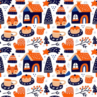 Kawaii cute christmas seamless pattern in scandinavian style. can use for fabric etc