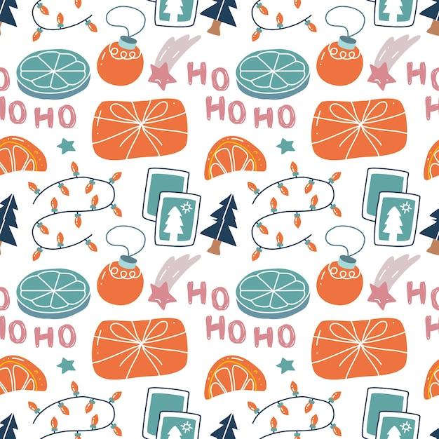 Kawaii cute christmas seamless pattern in scandinavian style.