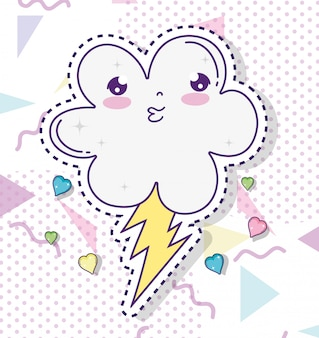 Kawaii cute cloud with thunder and hearts