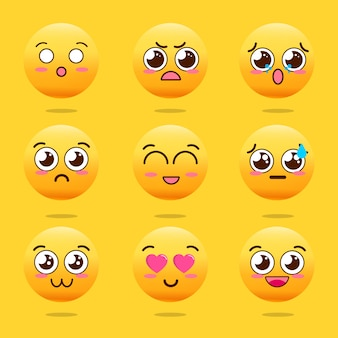 Kawaii cute emojis set