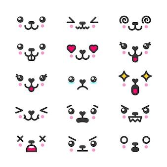 Kawaii 귀여운 얼굴 이모티콘 아이콘 세트. 캐릭터와 이모티콘, 사랑스러운 아이콘 만화