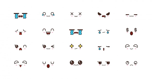 Kawaii cute faces smile emoticons. japanese emoji