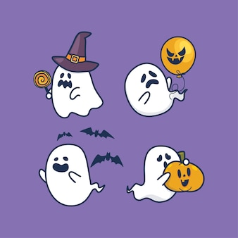 Kawaii cute flat design halloween ghosts set