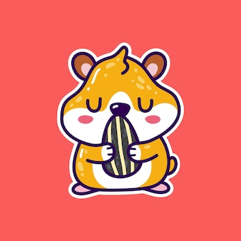 Kawaii cute hamster holding sunflower seed. doodle animal
