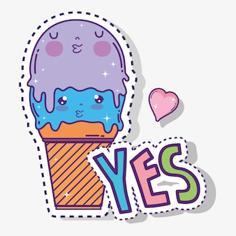 Kawaii cute ice cream with heart
