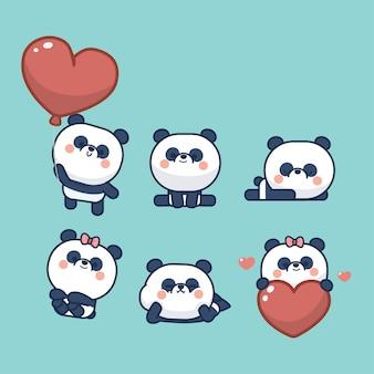 Коллекция наклеек kawaii cute little panda
