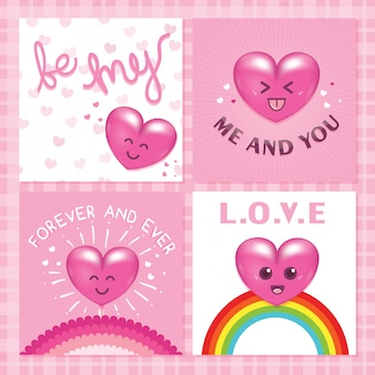 Kawaii cute love lettering card pack