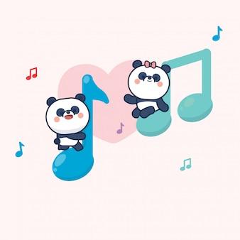 Kawaii cute panda couple valentine's day
