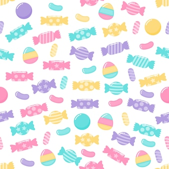 Kawaii cute pastel candy sweet desserts seamless pattern with different types on white background for cafe or restaurant.