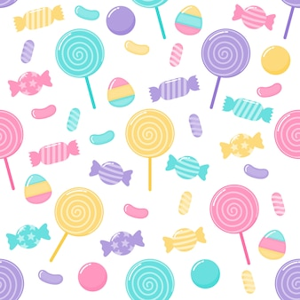 Kawaii cute pastel candy sweet desserts seamless pattern with different types