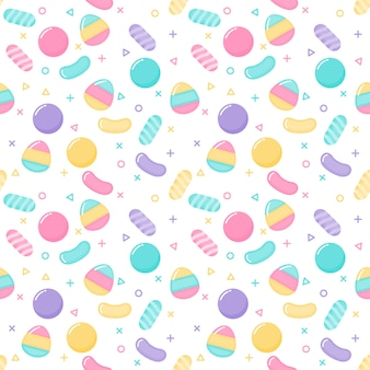 Kawaii cute pastel candy sweet desserts seamless pattern