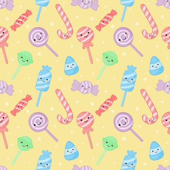 Kawaii cute pastel candy sweet desserts with funny faces cartoon seamless pattern