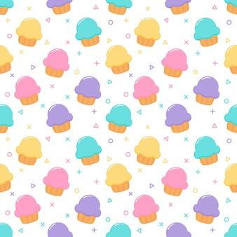 Kawaii cute pastel cupcake sweet summer desserts seamless pattern