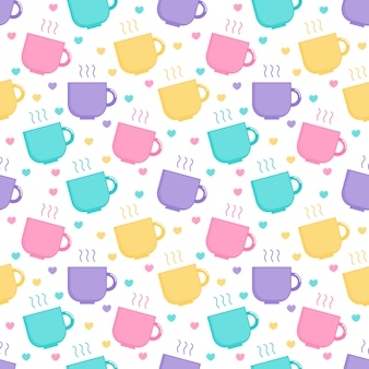 Kawaii cute pastel cute coffee and tea cup cartoon seamless pattern