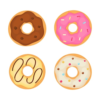 Kawaii cute pastel donuts sweet summer desserts cartoon
