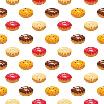 Kawaii cute pastel donuts sweet summer desserts seamless pattern with different types on white