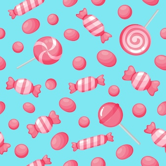 Kawaii cute pink candy sweet desserts seamless pattern