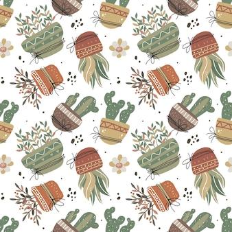 Каваи милое растение в горшке бесшовные модели в скандинавском стиле.