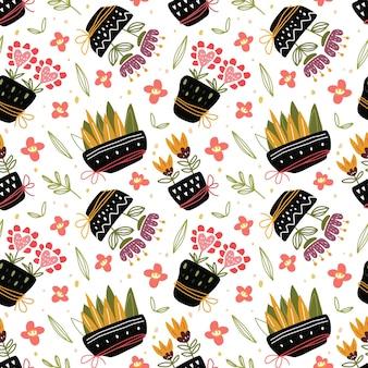 スカンジナビアスタイルのポットシームレスパターンのカワイイかわいい植物。
