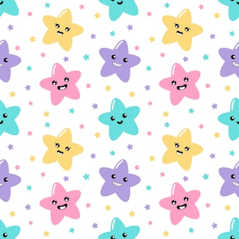 Kawaii cute stars pastel with funny faces cartoon seamless pattern on white background for kids.