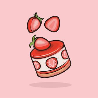 Каваи милый клубничный торт