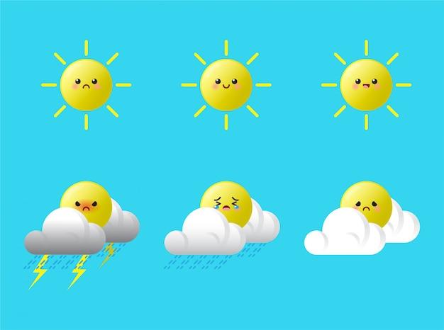 Набор kawaii cute sun expression