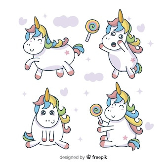 Kawaii cute unicorn character collection