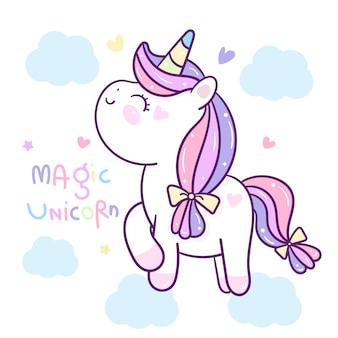 Kawaii cute unicorn on cloud