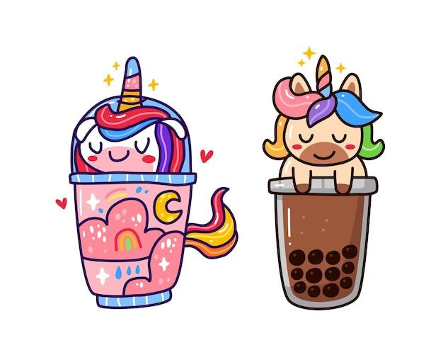 Kawaii cute unicorn inside drink cup isolated on white