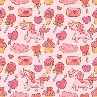 낙서 스타일에 귀여운 귀여운 발렌타인 요소 완벽 한 패턴입니다.