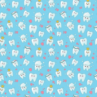 Kawaii dental care seamless pattern