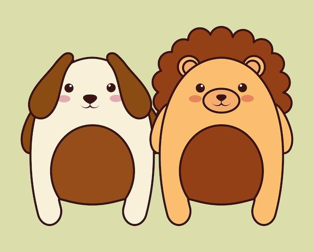 Значок собаки и льва каваи