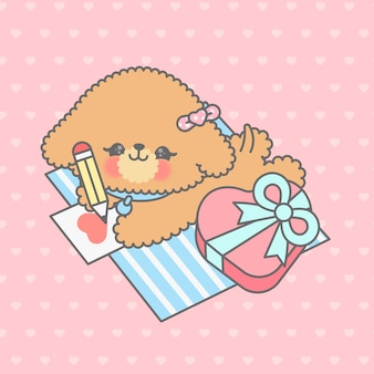 Kawaii dog cartoon hand drawn style